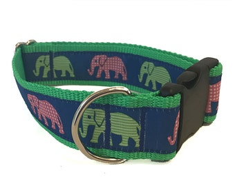 """1.5"""" Colorful Elephants Wide Dog Collar, Martingale or Leash"""