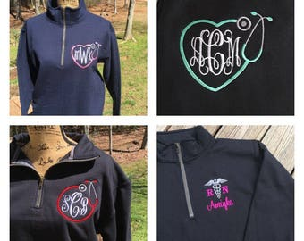 Monogrammed NURSE, Medical Tech Sweatshirt.  Quarter zip sweatshirt.  Medical field sweatshirt.  S, M, L, XL, 2X, 3X. Product ID-995