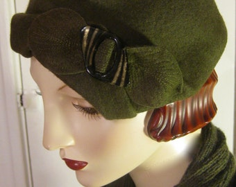 1930's Sculpted Percher Hat with Vintage Buckle/Olive