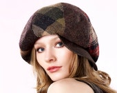 Newsboy Cap Winter Accessories Fall Fashion Tweed Apple Cap 1960s Mod Cap Patchwork Hat Slouchy Hat Beret Baker Boy Cap Fall Accessories