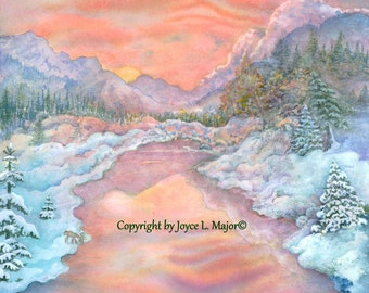 "Watercolor print, ""Winter Twilight Reflections"""