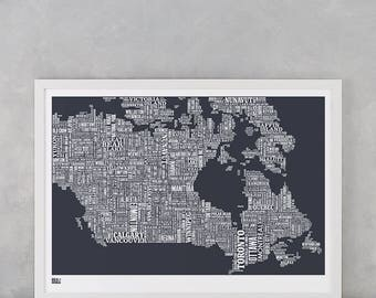 Canada Type Map Screen Print, Canada Type Map, Canada Word Map, Canada Wall Poster, Canada Art Print, Canada Screen Print, Canada Poster