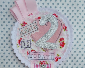 Personalised Pink and Silver Party Birthday Girls Rosette Badge Age Ribbon Rosette made to order