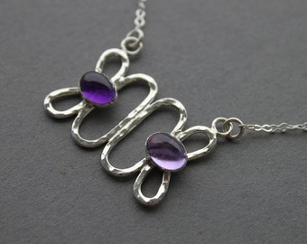 Amethyst pendant Sterling silver layering necklace, February Birthstone, boho style lavender Amethyst, Connected Ovals