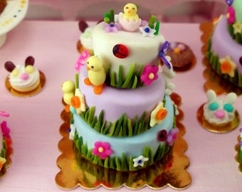 Spring Time Whimsical Cake - Dollhouse Miniature Food Handmade