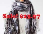 Fringe Scarf Womens Fashion Scarves - Midnight Moonlight - Black, Gray, Silver, White