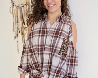 Brown Earthy Flannel Plaid Native Tribal Trim Oversized Open Cold Shoulder Upcycled Tunic/Top/Shirt Women's One Size by MountainGirlClothing