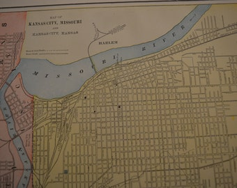 1897 City Map Kansas City Missouri - Vintage Antique Map Great for Framing 100 Years Old