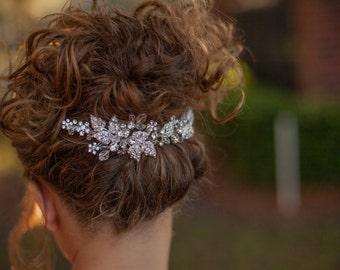 Bridal Rhinestone Hair Vine, Bridal hair clip, rhinestone wedding headband