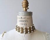 Pearled Brass choker | vintage 1930s choker necklace | filgree brass 30s necklace