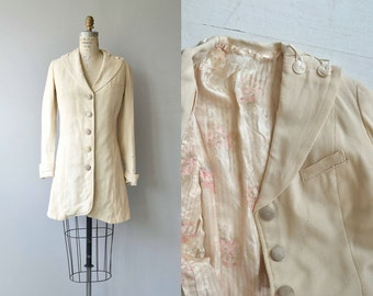 Edwardian walking jacket | cream wool 1910s coat | antique Edwardian jacket