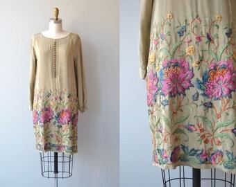 Leitmotif silk dress   vintage 1920s dress   embroidered silk 20s dress