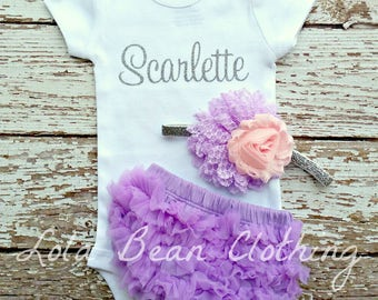 NEW Baby Girl Take Home Outfit Newborn Baby Girl Custom Name Bodysuit Lavender Bloomers Silver Pink headband Set Lola Bean Clothing Hospital