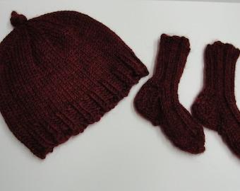 "Baby alpaca baby beanie, baby cap - luxury yarn- fits 0-6 months ""Bing Cherry"" Ready to Ship- Ships free to USA"