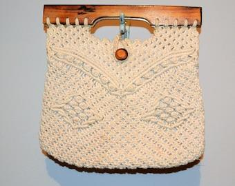Vintage Handbag Macrame and Wood