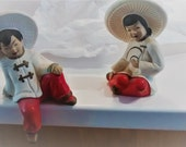Price reduced  Again Adorable Asian Boy and Girl Shelf Sitters Hand Painted Vintage Chalk Ware