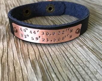 Leather Cuff Bracelet - Custom coordinates- name Bracelet - Personalized, Hand Stamped Bracelet longitude latitude unisex jewelry gift