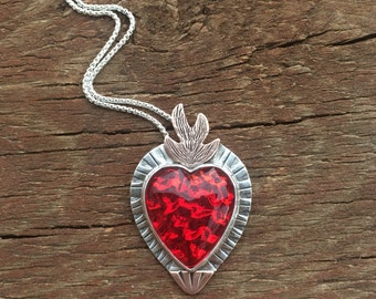 Flaming Heart Necklace, Sacred Heart Necklace