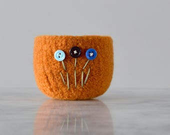 pumpkin orange wool bowl with blue button flowers - gifts for coworkers - gifts for teachers - handmade by the Felterie - gifts for friends