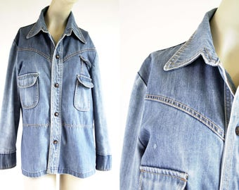 Vintage 50's Denim Quality Sears The Men's Store Outerwear Light Wash Denim Snap Up Light Weight Unisex Retro Jean Jacket