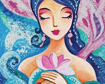 Quan Yin mermaid painting, girl and sea, mermaid art, mermaid print, girls room decor print 8x11.5+