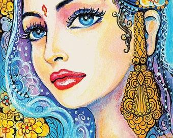 Beautiful Indian woman painting, Indian decor, Indian princess, watercolor illustration, art, feminine decor, beauty painting print 8x12+