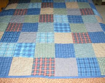 Patchwork Lap Quilt, Wall Hanging, Navy Blue Plaid Lap Quilt, 43x 58 inches