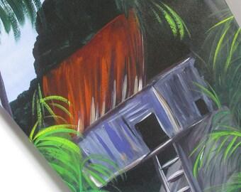 Tropical Decor 16 x 24 Giclee Print Caribbean House Beach Scene Bathroom Wall Art Colorful Art Tropical Painting