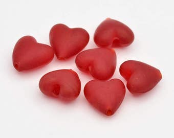 Frosted Red Glass Lampwork Hearts - 15mm - Set of 10