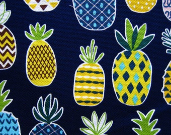 Pineapple Fabric - Japanese Fabric Cotton Canvas - Pineapples on Blue - Fat Quarter - Cosmo Textile