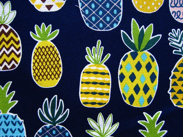Pineapple Fabric Japanese Fabric Cotton Canvas Pineapples