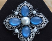 On sale Beautiful Vintage Sapphire Blue, Faux Pearl Emmons Brooch, Silver tone