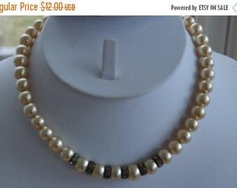 "On Sale Pretty Vintage Beige Faux Pearl, Rhinestone Rondelle Necklace, 14-1/2"""
