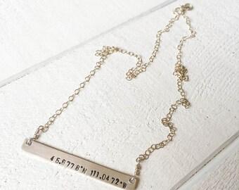 GPS Bar Necklace