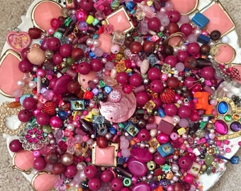 HUGE 1 pound 14 oz Destash Bead Mix Vintage glass Plastic Wood stone Red PINK Inspiration Altered art