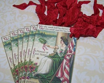 Memorial Day Tags Patriotic Tags Vintage Style Set of 6 or 9