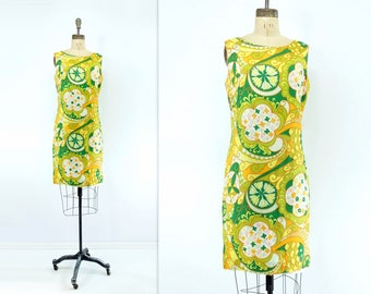 60s Shift Dress Vintage 60s Dress 60s Lime Green Dress 1960s Lemon Dress Vintage Summer Dress 60s Sleeveless Dress Bright Yellow m