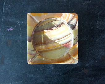 1970's ashtray Retro Thick Marble Smoking decor Heavy Modern 1960s Ranch Home Table Top Vintage