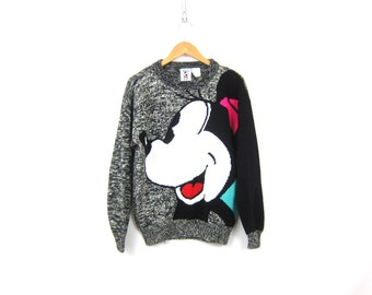 Vintage Minnie Mouse Sweater Black and Gray Marled HIpster Sweater Retro Knit Sweater Disney Shirt Size Medium