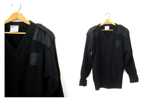 Vintage Military Sweater Black Commando RIBBED Pullover Rib Knit Chunky ARMY Surplus Sweater Panels Elbow Patches Grunge Large
