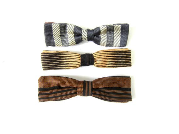 1950s Vintage Bow Ties Set of 3 Hipster Retro Unisex Ties Small Clip On Bowties Striped Gray Brown Black