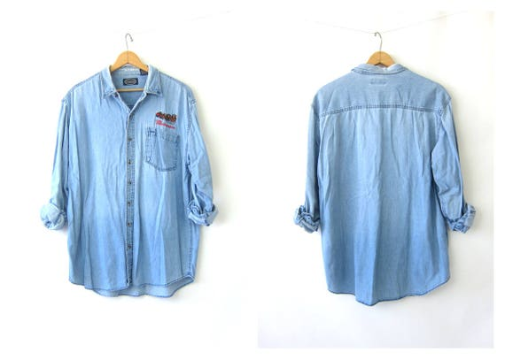 BUDWEISER Top Vintage 90s Jean Shirt Oversized Button Up Washed Out Faded Slouchy DES Denim Shirt Distressed Thin Work Shirt Mens Large