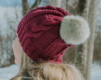 Knit Cable hat, knit cable beanie, knit hat, knit beanie, hat, beanie, The Mary knit hat, women hat