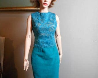 FID Girl from Iplehouse - 2 Piece Outfit of Stretch Lace Top and Knitted Suede Pencil Skirt in Teal Blue