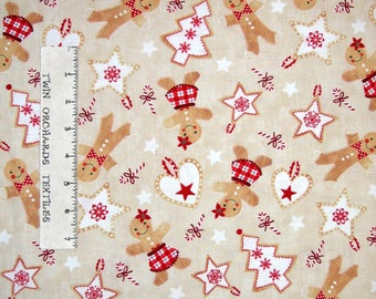 Christmas Fabric - Jolly Gingerbread Cookie Toss Beige - Timeless Treasures YARD