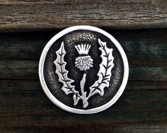 Round Scottish Thistle Pewter Pin Brooch | Scottish Thistle Pin | Scottish Thistle Jewelry | Handcrafted Jewelry | by Treasure Cast Pewter