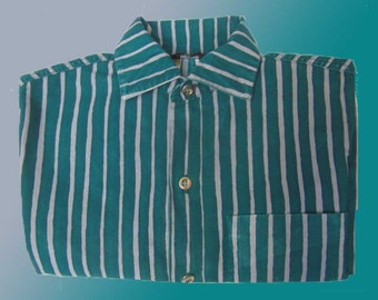 Marimekko Design Research Early Jokapoika Mod Striped Shirt,Finlad,Teal and Violet,Small Size,Vintage Fashion,Unisex