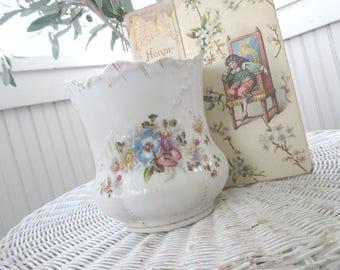 Vintage Biscuit Jar * Shabby Chic * Pansies * Spooner * Vase
