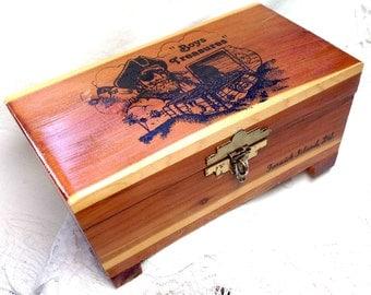 Wood Box - Trinket Treasure Chest for Boys - Vintage Cottage Chic Mid Century Mini Country Keepsake Cedar Pirate Chest - Delaware Souvenir