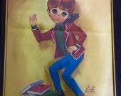 VTG 60s big eyed kids mod Eve print of boy listening to a transistor radio